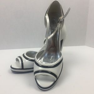 LINEA PAOLO White & Black Patent Color Block Heels
